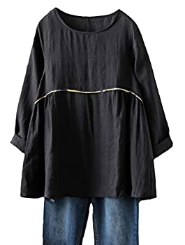 Mordenmiss Women s Linen Shirts Casual Loose Fit Tunic Top Long Sleeve Comfy Blouse Black 2XL