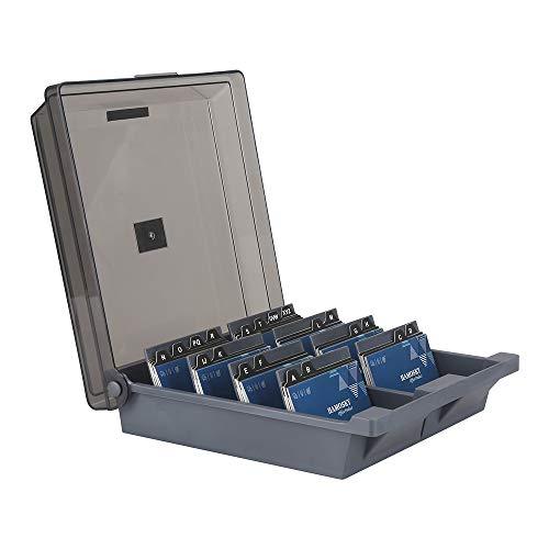 Hamosky - Caja organizadora de tarjetas de visita para tarjetas de visita, 1000 tarjetas, 4 separadores y guías A-Z, color gris