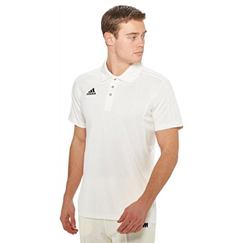 adidas Kurzarm Mens Cricket Shirt Cricket Bekleidung Tops Weiß, Weiß, M