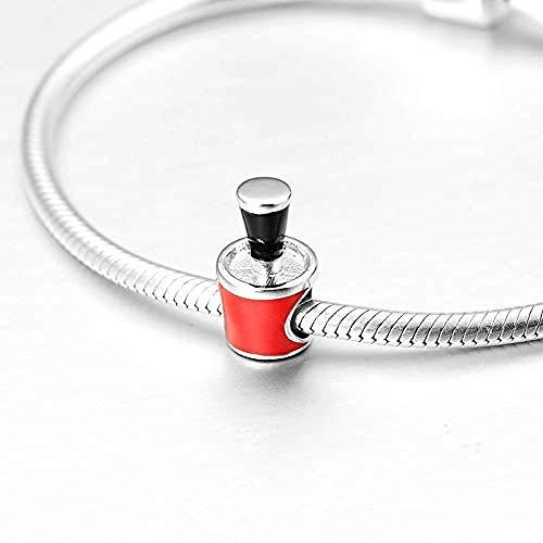Charm Anhänger,Rote Emaille 925 Sterling Silber Diy Kreative Nagellack Flasche Feine Perlen Charme...
