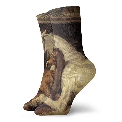 BwwoBing Herren Damen Crew Socken, sportliche Laufsocken, neuartige Kompressionssocken für Laufen, Reisen, Radfahren, Schwanger, Krankenschwester, Flight- ARAB-Zelt mit Pferden und anderen Tieren