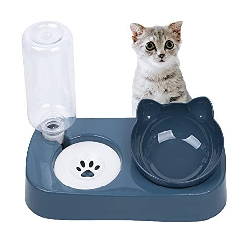 Cuenco del Gato,Comedero para Perro Gato,15°Inclinación Tazón de Alimentación para Gatos,Comederos Gatos Elevado 2 en 1 con Bebedero Automático,Se Puede Utilizar para Gatos y Cachorros