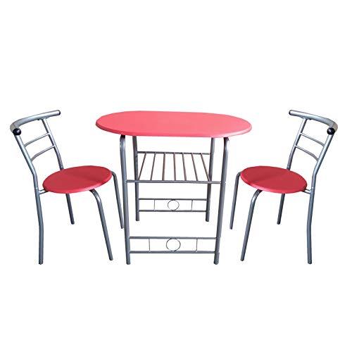 HTI-Line Tischgruppe Merit Stuhl Tisch Esszimmerset Sitzgruppe Essgruppe 1 Esszimmertisch 2 Stühle Rot