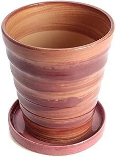 鉢 KANEYOSHI 【日本製/安心の国産品質】 フラワーロード 素焼 植木鉢 あかね 皿付 5号