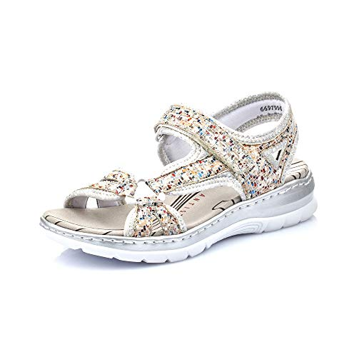 Rieker Damen Sandalen 66979, Frauen Trekking Sandalen, Outdoor-Sandale sommerschuh Damen Frauen Lady,Pebble-Multi/silverflower / 90,39 EU / 6 UK