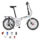 Bicicleta Plegable De 20 Pulgadas, Bicicleta De Carretera Urbana Portátil De 7 Velocidades con Frenos De Disco Doble Bicicleta Plegable Ligera para Hombres Y Mujeres White