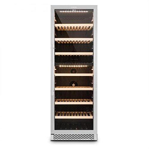 Klarstein Gran Reserva - Drankkoelkast, wijnkoelkast, gastro koelkast, 2 zones, 379 liter, 7 houten inzetstukken, 166 flessen, LED, touch, stil, zwart-zilver