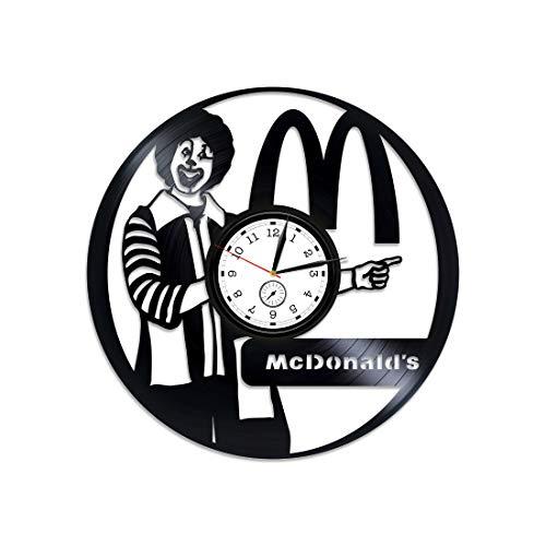 Kovides McDonald's Clock McDonald's McDonald's Vinyl Wanduhr McDonald's Vinyl Uhr McDonald's Vinyl Schallplatte Wanduhr Geschenk für Mann 12 Zoll Uhr McDonald's Wanduhr Vintage