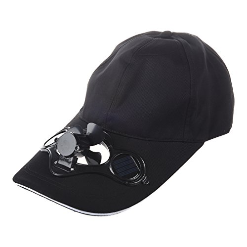 SODIAL(R)Summer Outdoor Solar Sun Power Hat Cap Cooling Cool Fan for Golf Baseball Sport - Black