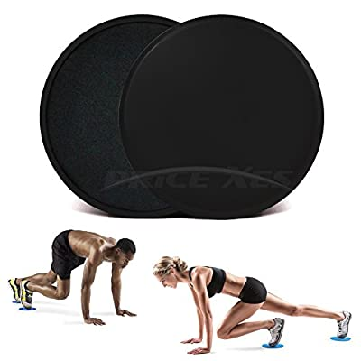 2 x Dual Sided Gliding Discs Exercise Sliders Core Sliders Fitness Ultimate Trainer Gym Home Abdominal & Total Full Body Workout Equipment on ALL surfaces Slide & Glide Exercises