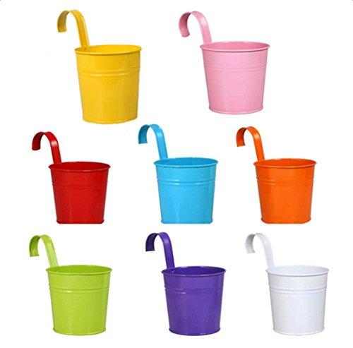 Da.Wa Lot de 8 pots de fleurs en métal à suspendre pour décoration intérieure ou extérieure, jardin, balcon, décoration d'intérieur (multicolore)