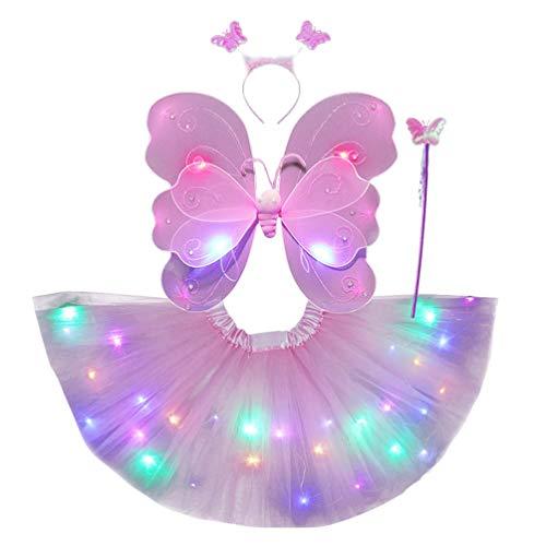 SOIMISS Kleine Mädchen LED Fee Prinzessin Kostüm Set Schmetterling Flügel Tutu Rock Zauberstab Stirnband