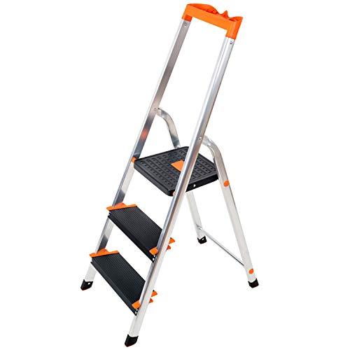 Tatkraft Master Escalera Plegable Hecha de Aluminio, de 3 Peldaños con Bandeja de Herramientas, TÜV Probado, Plataforma de Seguridad 27x28 cm, Escalones Antideslizantes, Soporta hasta 150 kg