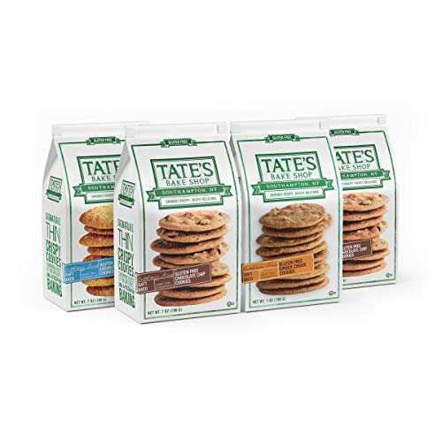 Tate's Bake Shop Thin & Crispy Cookies, Gluten Free, Variety Pack, 7 Ounce (Pack of 4)