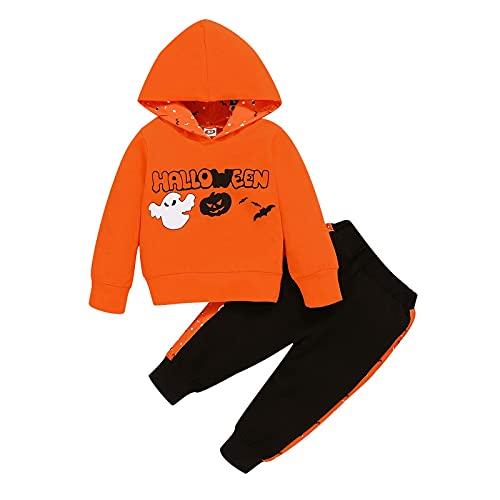 Conjunto de trajes de bebé Halloween calabaza con capucha pantalones niños manga larga pantalones de chándal 2 piezas Halloween otoño invierno ropa conjunto, naranja, 12 meses