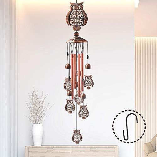 Alitake Owl Wind Chimes for Outside, Brass Wind Chimes Outdoor Clearance with S Hook Windchimes Indoor and Outdoor Decorations, Windchime Gifts for Girlfriend Mom Grandma Garden Gift Housewarming Gift