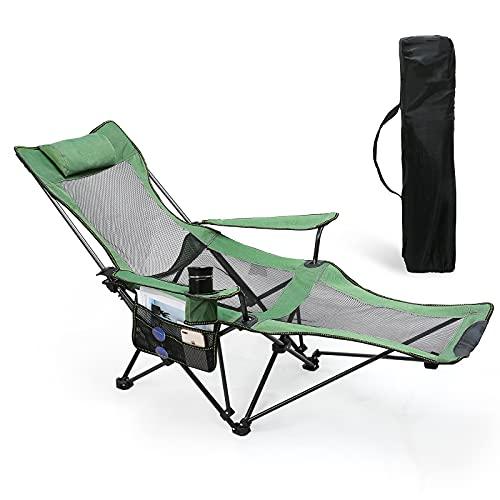 Uverbon Silla de Camping Plegable Reclinables Portátiles con Soporte para Tazas y Bolsa de Almacenamiento, para Playa, Senderismo, Picnics, Pescar