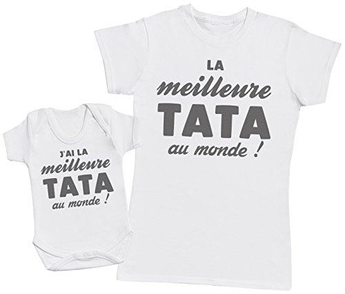 Zarlivia Clothing La Meilleure Tata au Monde! - Ensemble Tata Bébé Cadeau - Femme T Shirt & bébé Bodys - Blanc - S & 3-6 Mois