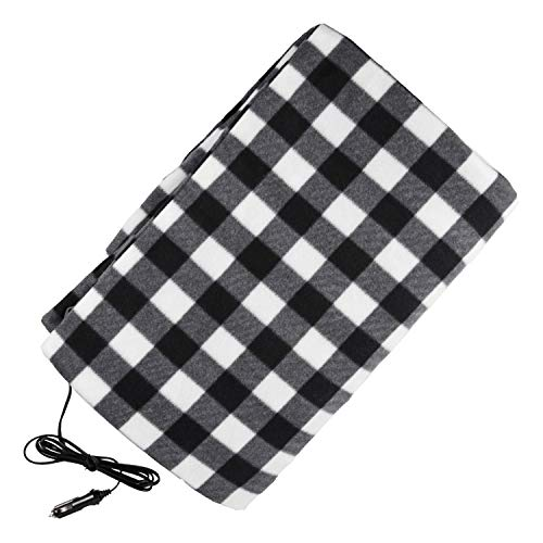 LETTON Car Heated Blanket Safety Low Voltage Fleece 12V Electric Travel Throw for Car Heating Blanket Warm Black and White