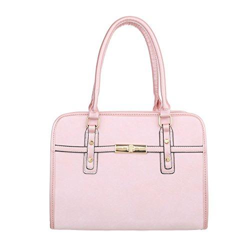 Ital-Design Damen-Tasche Mittelgroße Schultertasche Handtasche Kunstleder Rosa TA-K685