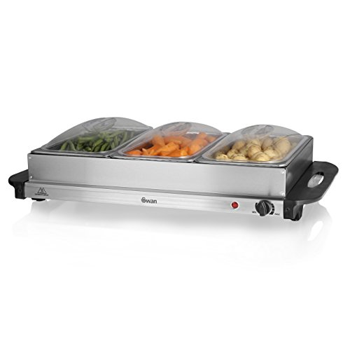 Swan SBS75, Buffet Server and Food Warmer with 3 Removable x 2.5L Pans, Adjustable Temperature Control, 300W