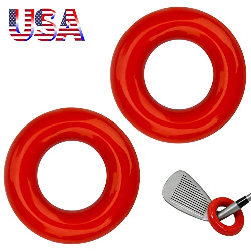 Amy Sport Golf Weighted Swing Ring Value 2Pcs, Club Warm Up Donut Weight for Practice Training (2 in Red)