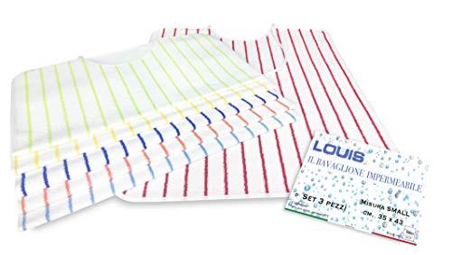 SET DI 3 BAVAGLIONE ADULTO impermeabile LOUIS © bavaglio con LACCI antimacchia misura SMALL completo di sacco per il lavaggio - 3 PEZZI colori UOMO