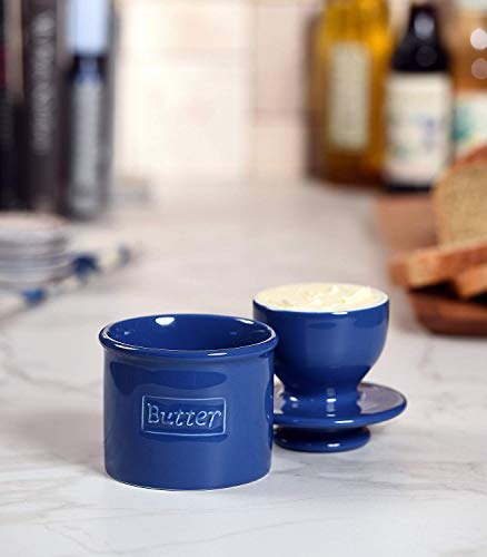 Butter Bell - The Original Butter Bell Crock by L. Tremain, French Ceramic Butter Dish, Café Retro Collection, Royal Blue