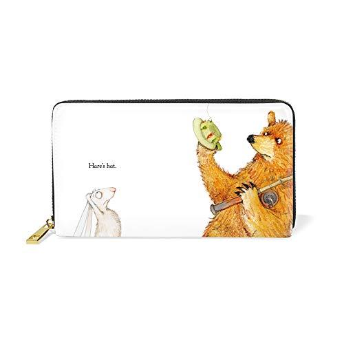 Women Zipper Wallet Bear Hare Go Fishing Clutch Purse Phone Credit Card Holder