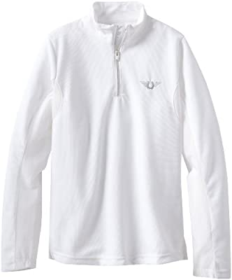 TuffRider Children's Ventilated Technical Long Sleeve Sport Shirt with Mesh, White, Medium by JPC Equestrian - Sporting Goods
