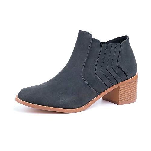 Botines Mujer Tacon Alto, Cuero Botas 7 Cm Otoño Zapatos De Botas Comodos Fiesta Marrón Rosado 35-43