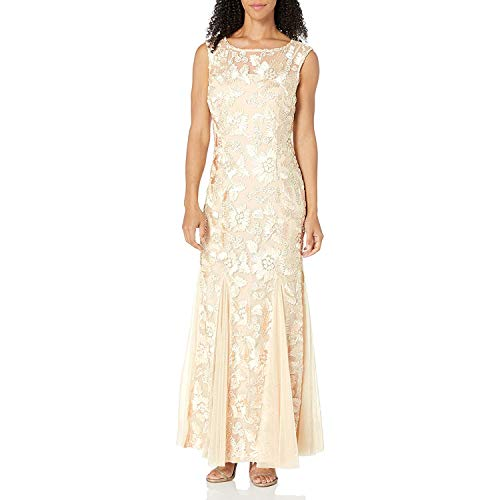 Alex Evenings Women's Long Fit and Flare Dress Godet Detail (Petite and Regular), Bright Champagne, 8 (Apparel)