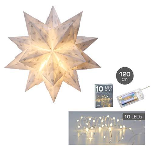 Bascetta Stern mit LED 15 x 15 cm 32 Blatt weiß/silberne Schneeflocken Bastelset