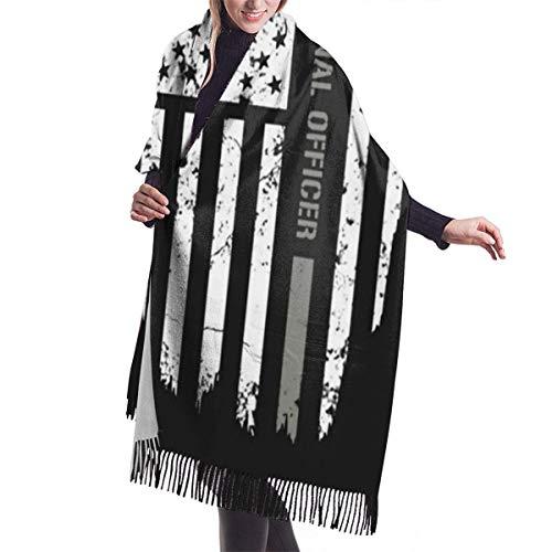 Qefgjbw Bandera de oficial correccional de moda para mujer chal largo espacio bádminton suave chal abrigo bufanda invierno bufanda grande