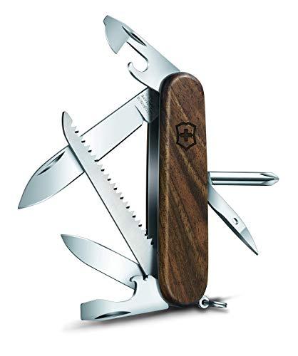 Victorinox Unisex-Adult Taschenmesser Hiker Wood (11 Funktionen, Klinge, Holzsäge, Dosenöffner) Holz, Nussbaumholz, 91 mm