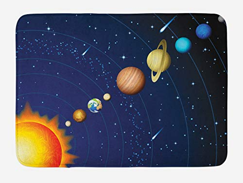 Space Bath Mat, sistema solar con sol urano Venus Júpiter Marte Pluto Saturno Neptune Imagen, 40 x 60 cm, azul naranja