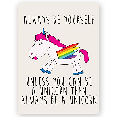 """Primitives by Kathy Box Sign Be Yourself Unless You Can Be A Unicorn 3/"""" x 5/'/'"""