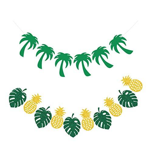 Decoración tropical hawaiana,Decoración de fiesta Aloha hawaiana Guirnalda tropical hawaiana Piña/Banner de hoja tropical Guirnalda de palmeras tropicales Decoración de fiesta Decoración de cumpleaños