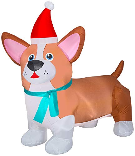 Christmas Corgi Inflatable 6 FT Wide Lighted Airblown Holiday Yard Decoration