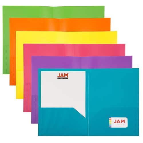 JAM PAPER A4 Plastic 2 Pocket POP Folders - 230 x 310 mm - Assorted Fashion Colours - 6/Pack