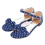 MISSUIT Damen Polka Dots Rockabilly Sandalen mit Riemchen Flach und Schleife Sandaletten Knöchelriemchen Schuhe(Blau,41)