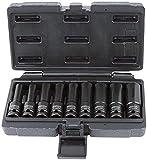 KS Tools 515.1050 Serie di Bussole per Avvitatori ad Impulsi TX Profilo E, Corte, 9 PezziE10-E24, 1/2'