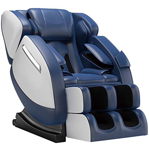 FOELRO Full Body Massage Chair,Zero Gravity Shiatsu Recliner with Air Bags,Back Heater,Foot Roller and Blue-Tooth Speaker,Blue