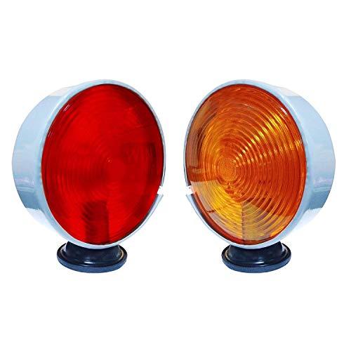 Bajato feu de sécurité et d'avertissement pour tracteurs Massey Ferguson et Autres 12V, Rouge et Ambre 11000608 (Lot de 2)