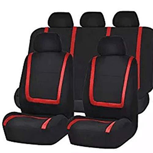 CVBN 9PCS Fundas de Asiento de Coche universales Juego Completo Asientos Traseros de airbag divididos de Piel sintética, Rojo