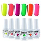 Vishine - Smalto gel semipermanente per unghie, per lampada UV o LED, 6 colori neon giallo, arancione, rosa, verde, regalo