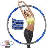 Hula Hoop Espuma removible, 8 Secciones de Hoola Hoola con Peso para Adultos, Hoop Hoop de Espuma extraíble Dance Hula Hoop para Adultos Ejercicio extraíble (Gray+ Blue)