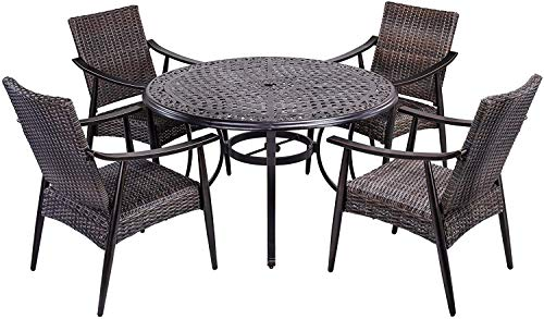 dali Outdoor 5 Piece Wicker Dining Set Patio Furniture, Wicker Mid-Century Modern Design Dining Chair Set with 48 inch Round Alum Casting Table