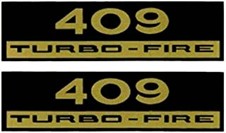 2pc SET Of CHEVROLET 409 HP TURBO-FIRE VALVE COVER DECALS - STICKER HORSEPOWER
