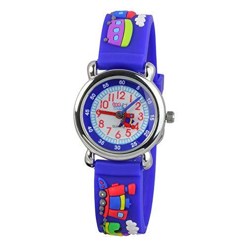 Tee-Wee Kinder Uhr 27mm Quarz Analog Eisenbahn Armband blau Kautschuk D1UW659B Quarzuhr von Tee-Wee für Kinder